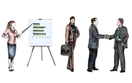 business partnership: Business male female people colored sketch set presentation handshake isolated vector illustration