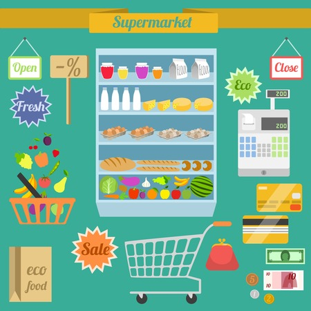 grocery shelves: Supermarket flat elements with shelf shopping cart money purse vector illustration
