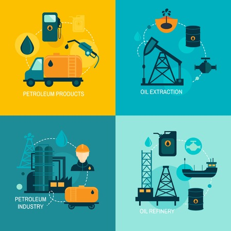 camión cisterna: Industria del petróleo concepto de negocio de distribución de combustibles de producción de diesel gasolina y el transporte de cuatro iconos composición ilustración vectorial