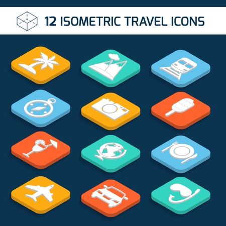 Travel holiday vacation icons isometric white set of palm mountains train isolated vector illustration. Vector