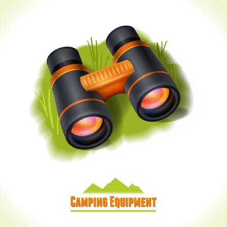 Camping summer outdoor activity concept equipment binocular symbol vector illustration.