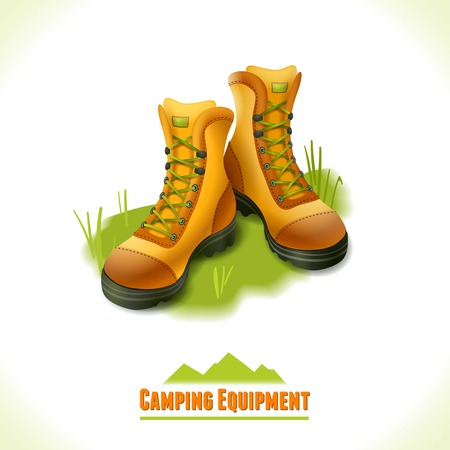 Camping summer outdoor activity concept equipment hiking boots symbol vector illustration.