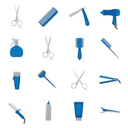hairstylist: Hairdresser fashion barber beauty salon accessories icon flat set isolated vector illustration. Illustration