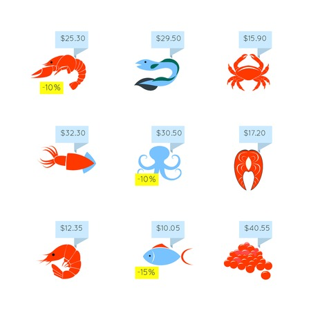 chunk: Seafood market online store discount fish lobster caviar price tags icons set flat abstract isolated vector illustration