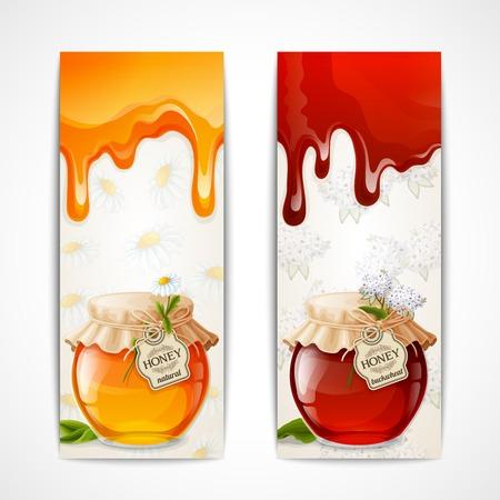 preserves: Dulce miel org�nica de oro natural en tarro de vidrio banners set, ilustraci�n vectorial Vectores