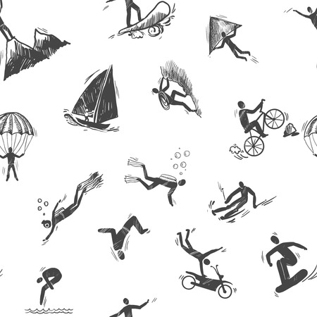Extreme sports icon sketch seamless pattern of snorkeling surfing climbing vector illustration. Vector