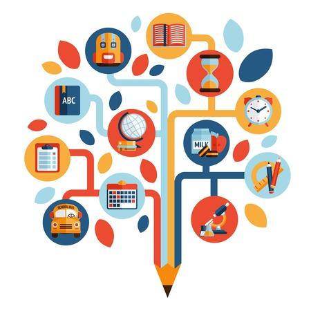 Boom met onderwijs iconen studeren kennis symbool vector illustratie