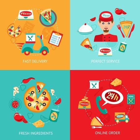 Iconos decorativos de entrega de pizza la comida rápido Atención perfecta ingredientes frescos de orden en línea fijadas aisladas ilustración vectorial