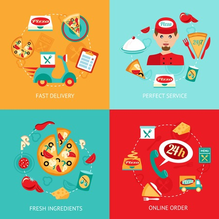 Fast food pizza delivery perfect service fresh ingredients online order decorative icons set isolated vector illustration Illustration