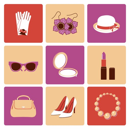 Woman fashion stylish casual shopping accessory collection flat icons set isolated vector illustration Vector
