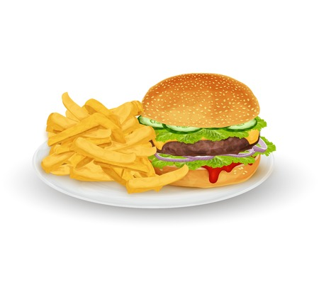 sesame seed: Hamburger sandwich with French fries on plate fast food isolated on white background vector illustration