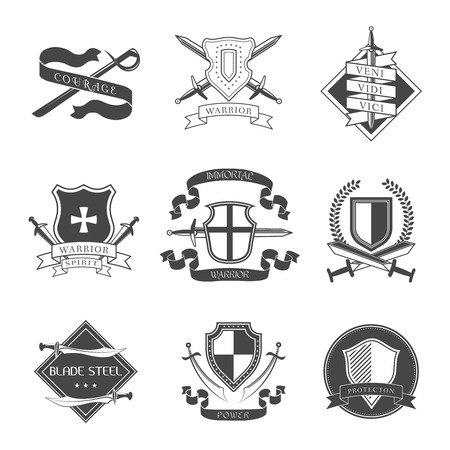 Swords shields courage warrior spirit immortal power label set isolated vector illustration. Vector