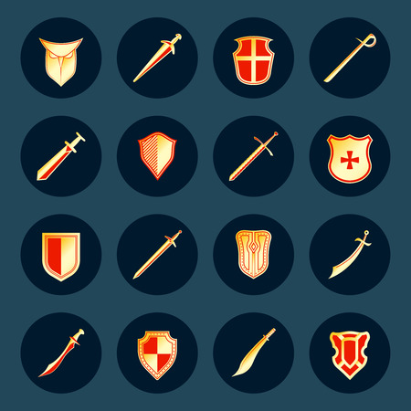 Swords antique military knight weapon and steel warrior shields round isolated vector illustration Vector