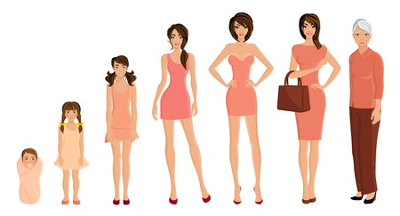 generace: Různé generace stárnutí žen nastavit na bílém pozadí vektorové ilustrace