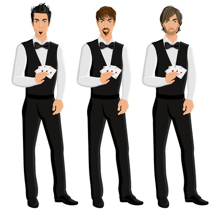 croupier: Handsome sexy young men casino dealers with cards portrait set isolated vector illustration.