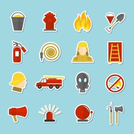 carro bomberos: Iconos de lucha contra incendios pegatinas conjunto de aislados hidrante de agua cami�n de bomberos hacha ilustraci�n vectorial Vectores
