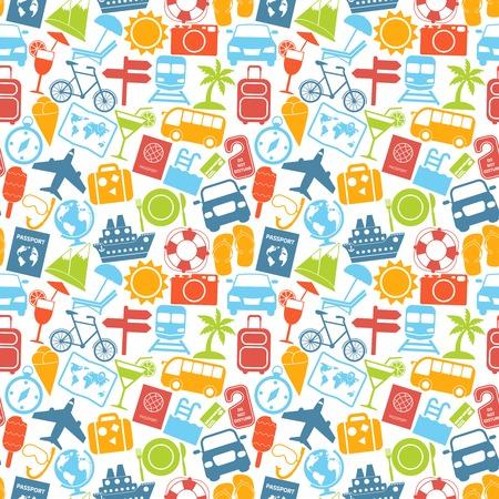 Travel holiday vacation adventure summer sea cruise icons seamless pattern vector illustration. Illustration