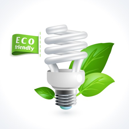 Ecology and waste global environment recycling energy saving lightbulb symbol isolated on white background vector illustration Vector