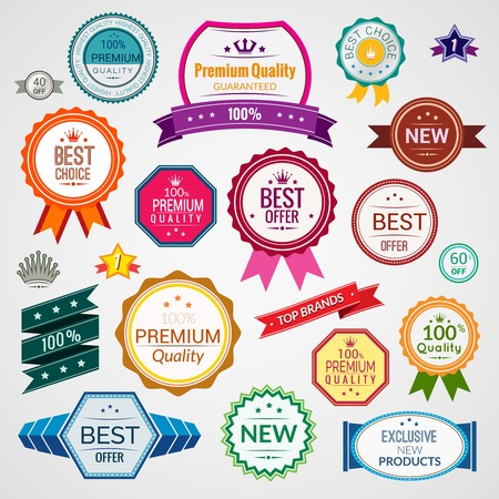 Color sale premium quality best choice exclusive labels set isolated vector illustration Иллюстрация