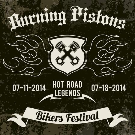 Motorcycle grunge burning pistons biker festival design poster vector illustration Vector