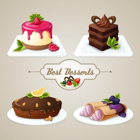 pie de limon: Dulces decorativos comida mejor conjunto postre de crepes de queso de torta acodada con la ilustración vectorial de jarabe Vectores