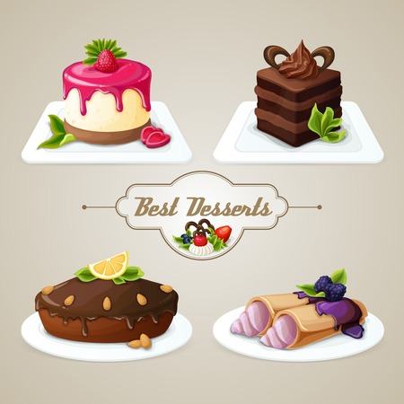 Decorative sweets food best dessert set of crepes cheesecake layered cake with syrup vector illustration
