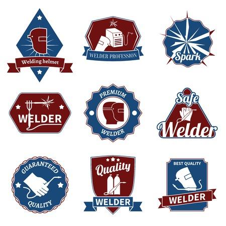 Welder industry worker instrument premium quality labels set isolated vector illustration. Illusztráció