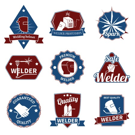 welding worker: Welder industry worker instrument premium quality labels set isolated vector illustration. Illustration