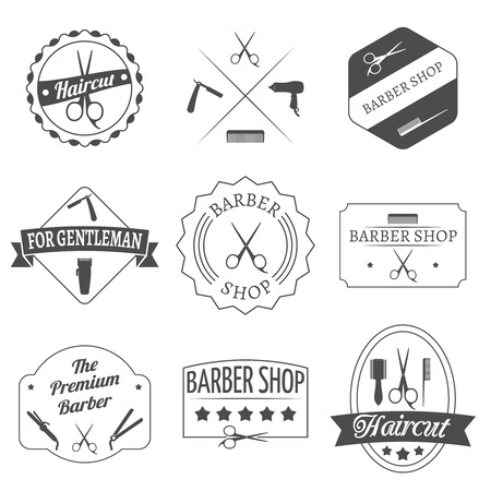 hairstylist: Hairdresser haircut barber shop label set isolated vector illustration Illustration