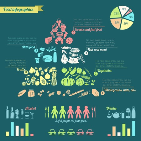 nutrition and health: Food pyramid healthy eating concept infographic with charts vector illustration.