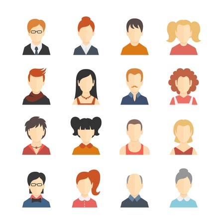 woman profile: Decorative social media business blog users profile avatar trendy hairstyle design icons collection isolated flat vector illustration