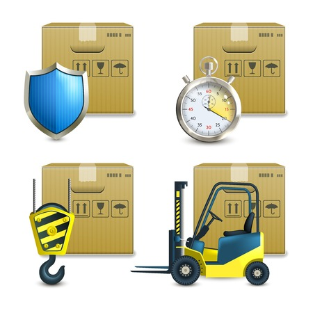 Logistic shipping realistic icons set of cardboard packages  isolated vector illustration Vector
