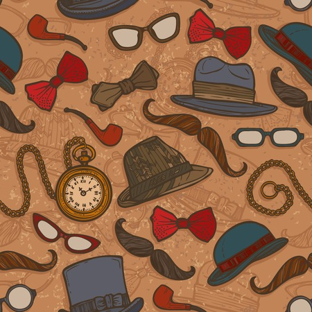 Vintage gentleman hats glasses mustaches bow tie colored seamless pattern vector illustration
