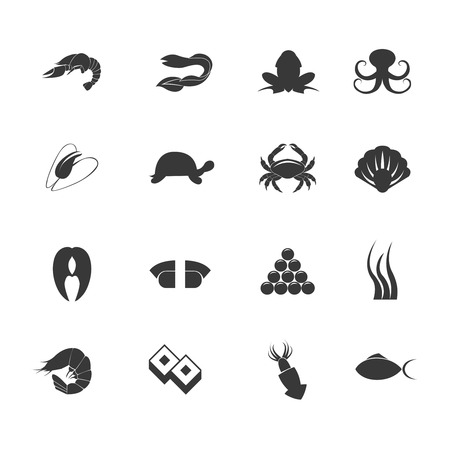 chunk: Seafood cuisine menu salmon fish and shellfish dishes elements symbols graphic icons set abstract isolated vector illustration