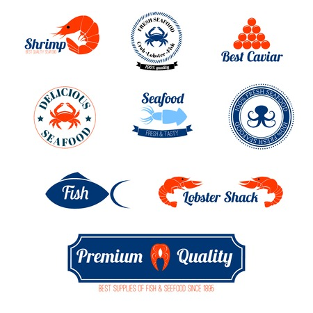 caviar: Seafood restaurant supplies stores fresh quality crab lobster salmon fish labels icons set abstract isolated vector  illustration