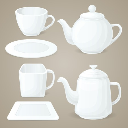 chinaware: Realistic white crockery set of tea pot and coffee cup isolated vector illustration