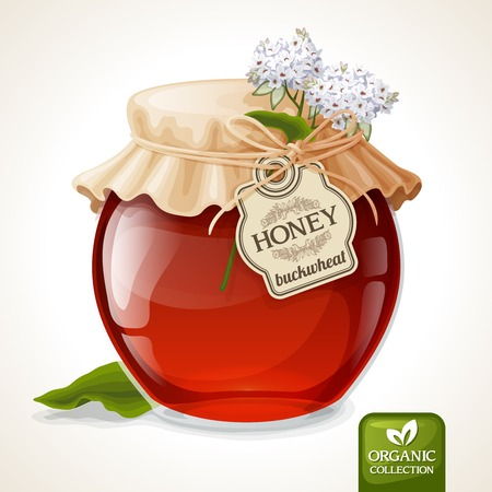 preserves: Natural sweet golden organic buckwheat honey in glass jar with tag and paper cover vector illustration
