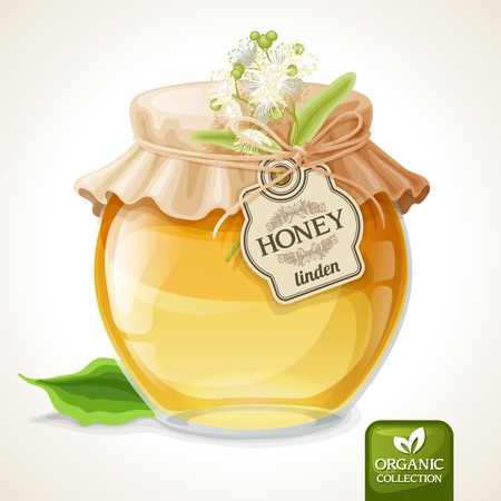 Natural sweet golden organic linden honey in glass jar with tag and paper cover vector illustration
