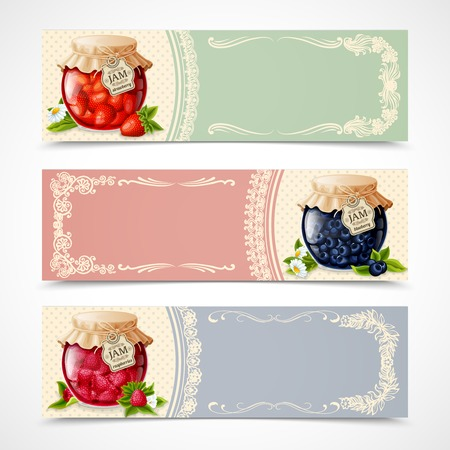 confiture: Natural organic forest berry jam in glass jar banners set isolated vector illustration.