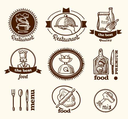 Restaurant best quality premium food menu labels set isolated vector illustration Vector