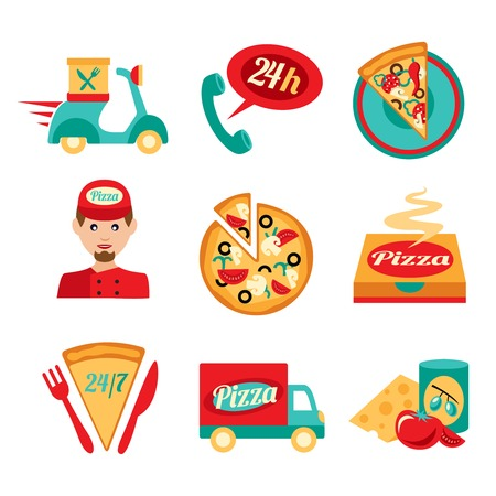 Fast food pizza delivery decorative icons set isolated vector illustration Vector