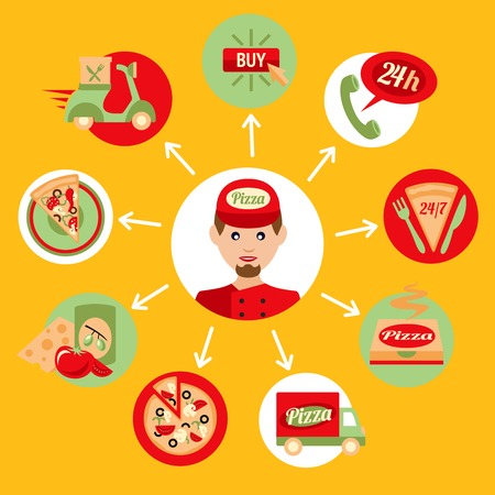 Fast food pizza delivery boy decorative icons set isolated vector illustration Vector