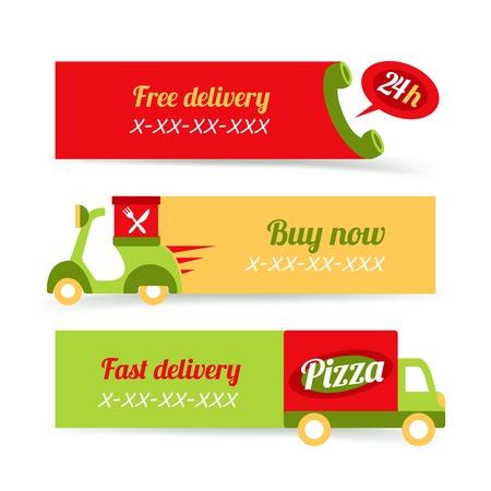 Comida rápida pizza entrega 24h gratuita banderas conjunto, ilustración vectorial Vectores