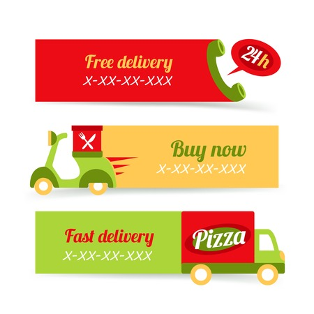 pizza delivery: Fast food pizza free delivery 24h banners set isolated vector illustration
