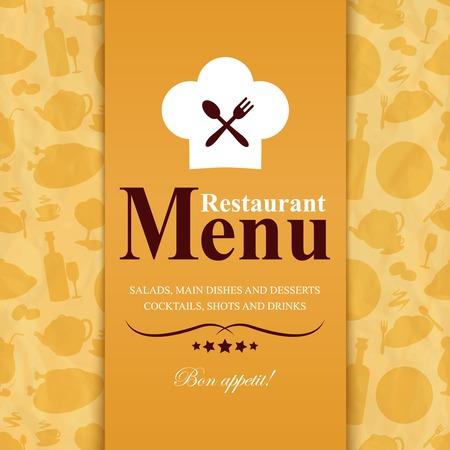 main dishes: Plantilla de men� Vintage, retro, restaurante con ilustraci�n Iconos de los alimentos de vectores de fondo