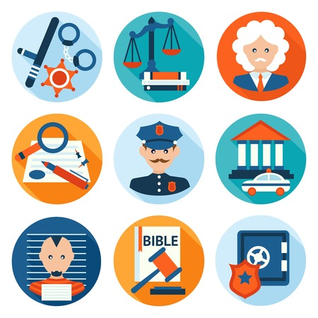 prosecutor: Law legal justice police investigation and legislation flat icons set isolated vector illustration.