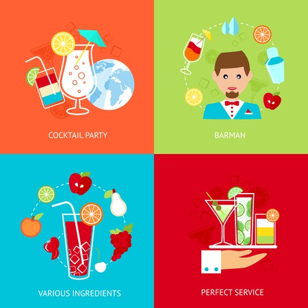 computer clubs: Cocktail party barman various ingredients perfect service decorative icons set isolated vector illustration