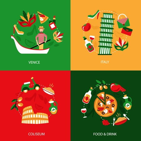 Italy venice coliseum food and drink decorative elements set isolated vector illustration Vector