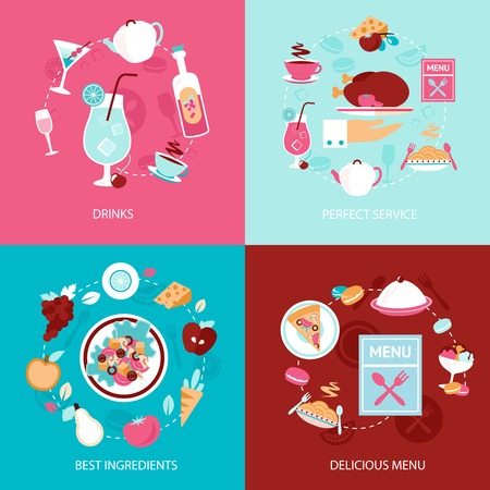 Restaurant drinks perfect service best ingredients delicious menu decorative icons set isolated vector illustration Vector