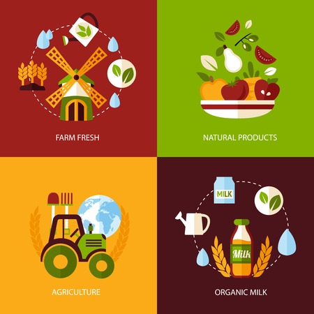 Farm fresh natural products organic agriculture food icons set isolated vector illustration.
